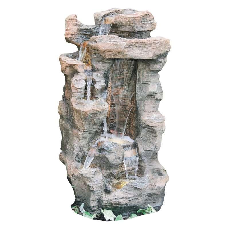 Granimex Caso Polystone Schiefer-Wasserfall mit Pumpe und LED-Beleuchtung Zierbrunnen Wasserspiel 10