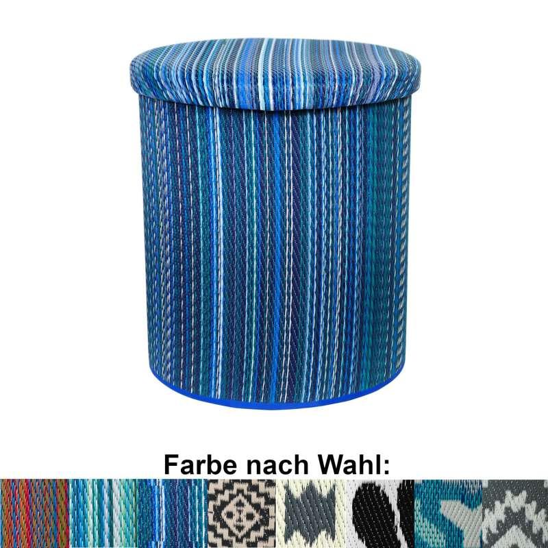 Fab Hab Round Pouf 45 cm Sitzhocker rund Tisch Aufbewahrung in 8 Farben recyceltes Plastik