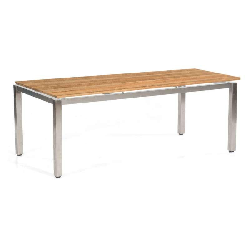 Sonnenpartner Gartentisch Base 200x100 cm Edelstahl Tischsystem mit wählbarer Tischplatte HPL Teak