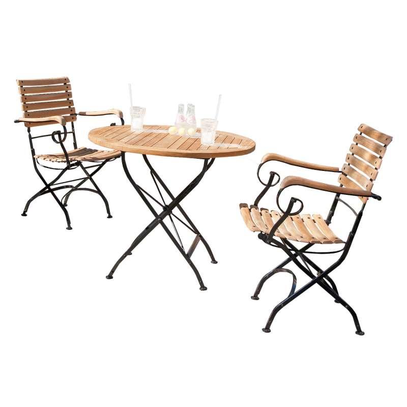 Sonnenpartner 3-teilige Sitzgruppe Oxford Ø 90 cm Teakholz und Eisen schwarz Gartentisch klappbar