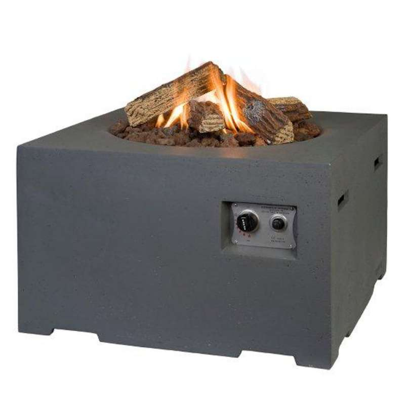 Happy Cocooning Mania Feuertisch 12 kW quadratisch klein 60x60x40 cm Beton-Optik grau