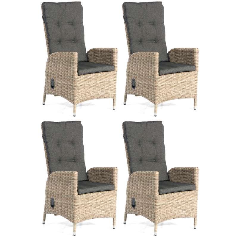 SunnySmart 4er Set Dining-Sessel Para-Basic Aluminium mit Kunststoffgeflecht sandstone Gartenstuhl