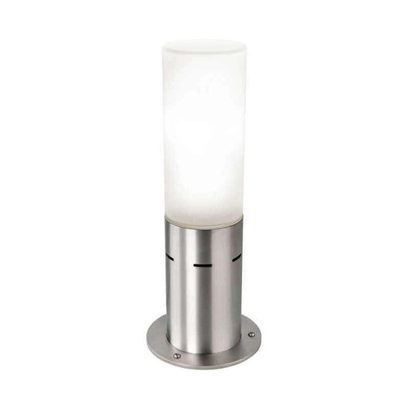 Heibi Sockelleuchte IPLIO Edelstahl/Opalglas 16,5x16,5x41,5 cm E27 Außenleuchte