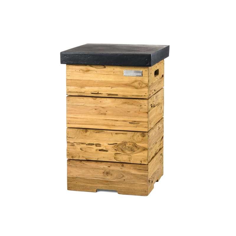 Happy Cocooning Mania Enclosure Beistelltisch für Gasflaschen Driftwood/schwarz 41x41x62 cm Feuertis