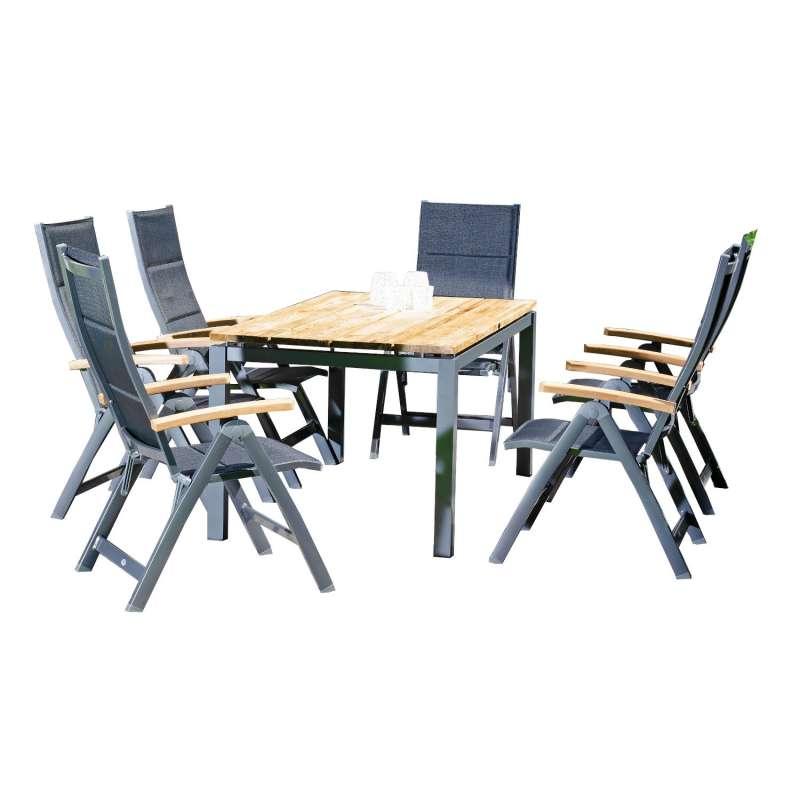 Sonnenpartner 7-teilige Sitzgruppe Sierra & Base 160x90 cm mit 6 Klappsesseln Aluminium anthrazit Te