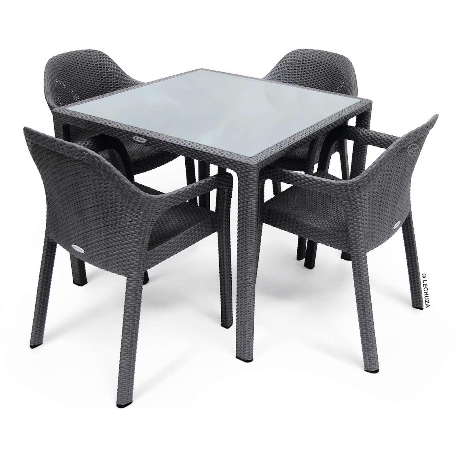 Lechuza Sitzgruppe Esstisch 90 x 90 cm granit inkl. 4 Stühle Gartentisch SET