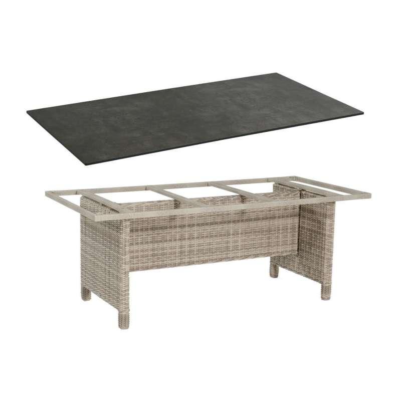 Sonnenpartner Gartentisch Base 200x100 cm Aluminium mit Polyrattan white-coral Tischsystem mit wählb