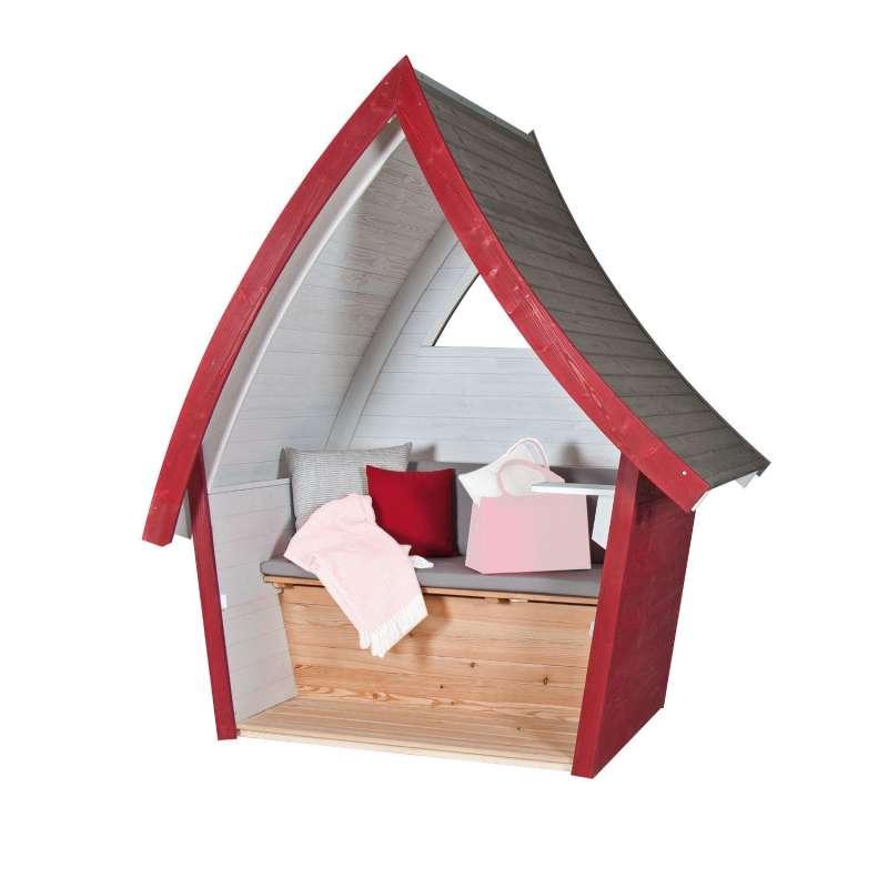 Sonnenpartner Outdoor-Lounge Hüttentraum karminrot/steingrau/weiß 227x192x128 cm mit Polstern Hütte