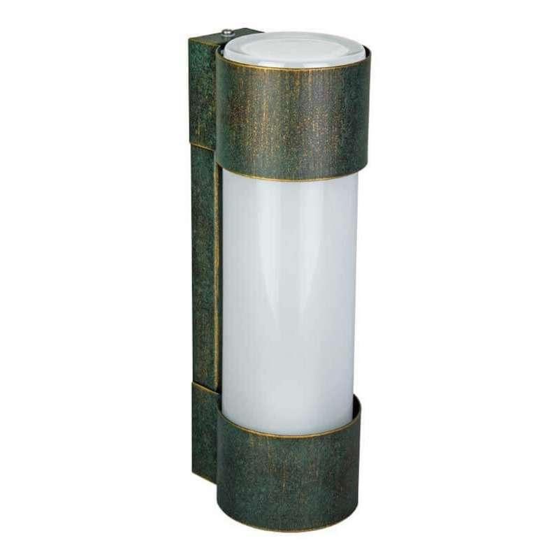 Heibi Wandleuchte NEPTO Stahl grün-gold/Opalglas 10x12,5x31,5 cm E27 Außenleuchte Zylinderform
