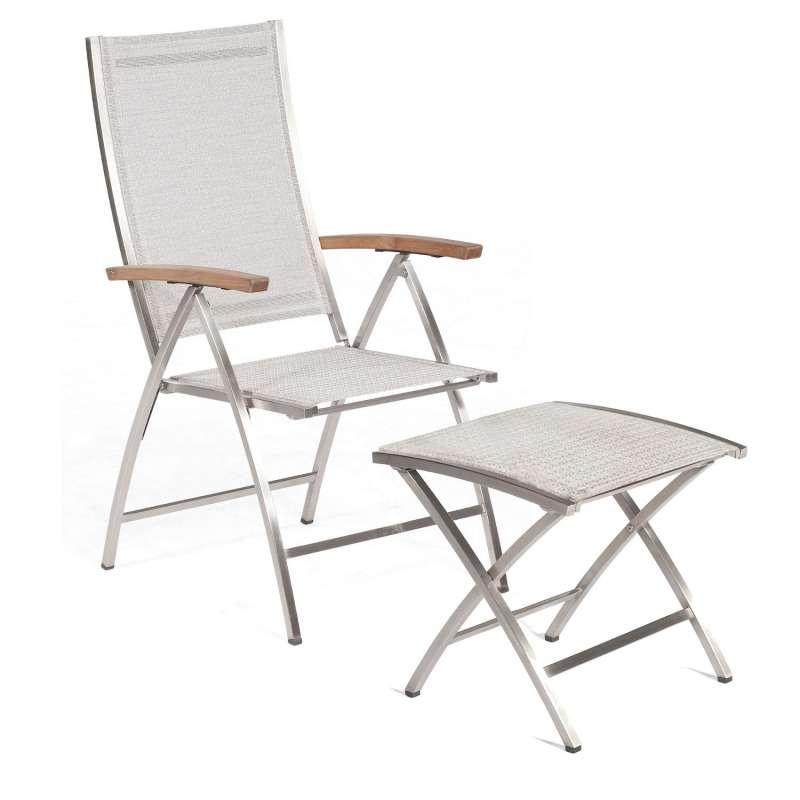 Sonnenpartner Klappsessel Paragon mit Fußhocker Edelstahl mit Textilen silbergrau Klapp-Sessel Klapp