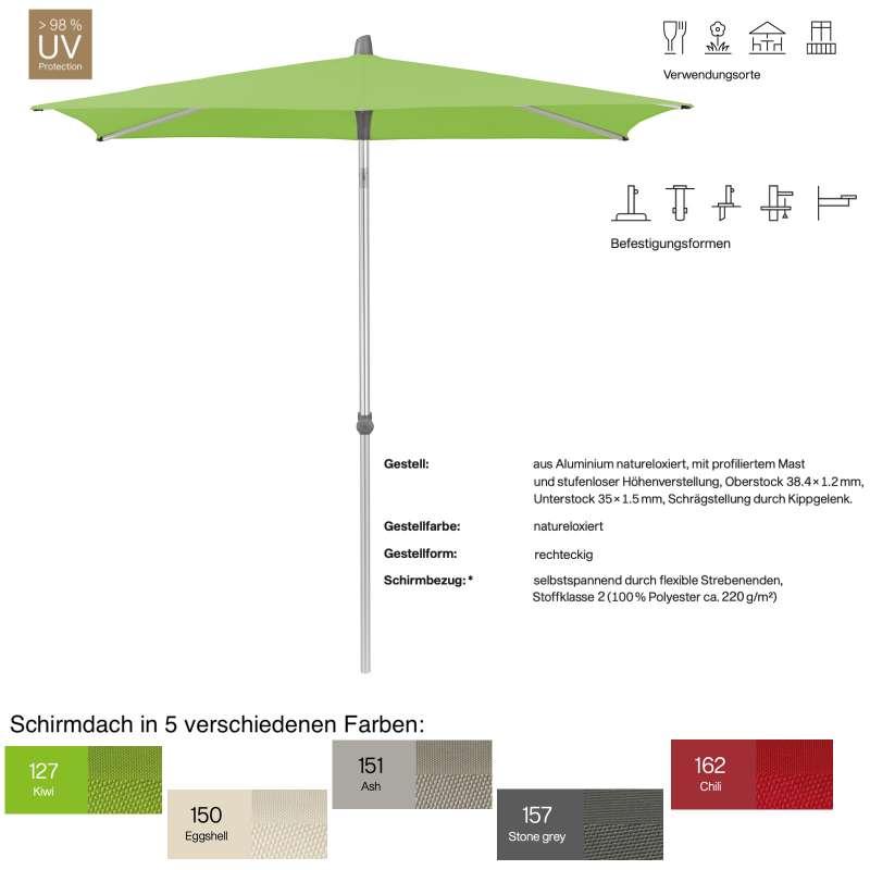 GLATZ Sonnenschirm ALU-SMART easy rechteckig 210 x 150 cm in 5 Farben Stoffklasse 2