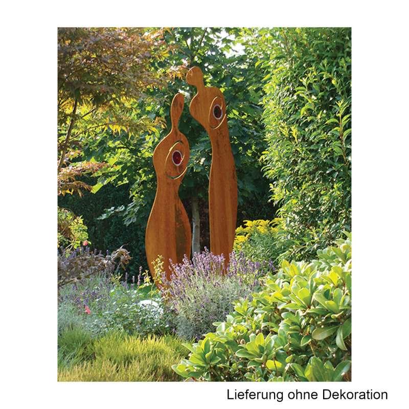 Mecondo SILAS M Skulptur Mann & Frau Cortenstahl/Glaseinsatz rot 80/90 cm Gartendekoration