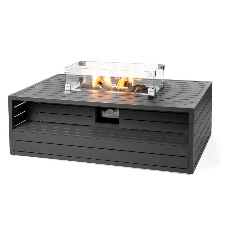 Happy Cocooning Mania Feuertisch Aluminium anthrazit 12 kW rechteckig 140x96x47 cm mit Glasschirm