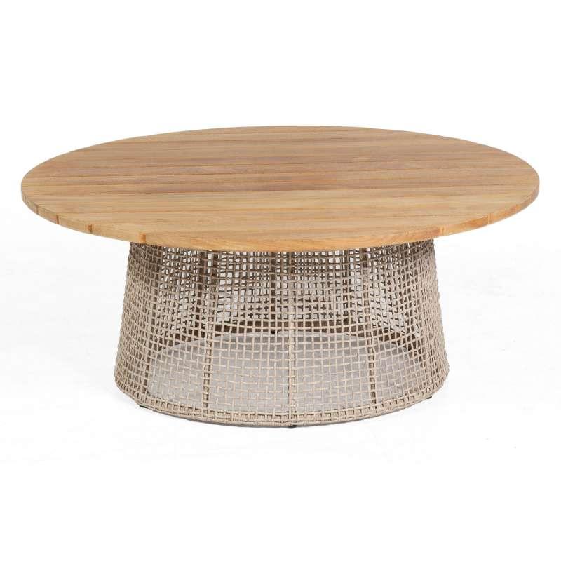 Sonnenpartner Lounge-Tisch Couture Ø 100 cm Teak/Aluminium mit Polyrope white-shell Loungetisch Beis
