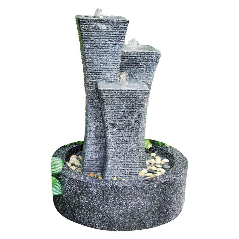 Granimex Colonnas Polystone Wassersäule mit Pumpe und LED-Beleuchtung Wasserspiel 75x54x54 cm
