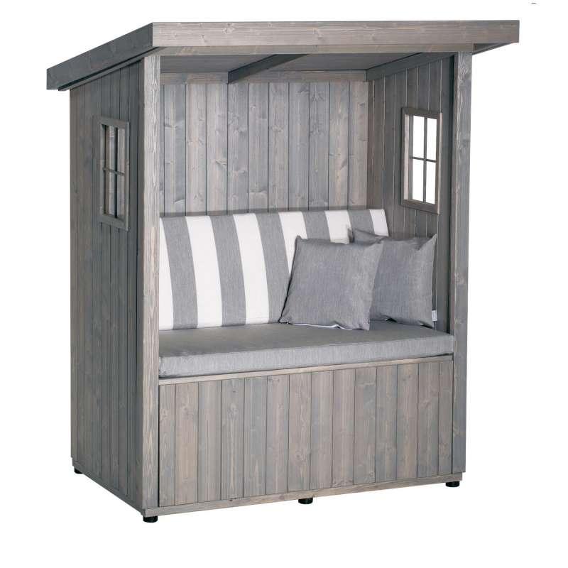 Sonnenpartner Outdoor-Lounge Hüttenglück silbergrau 177x142x108 cm mit Polstern Hütte