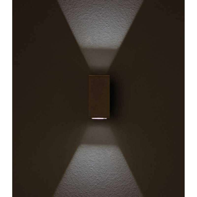 Heibi Wandleuchte NAIRA breit Aluminium graphitgrau/Klarglas 8x12x16,5 cm LED