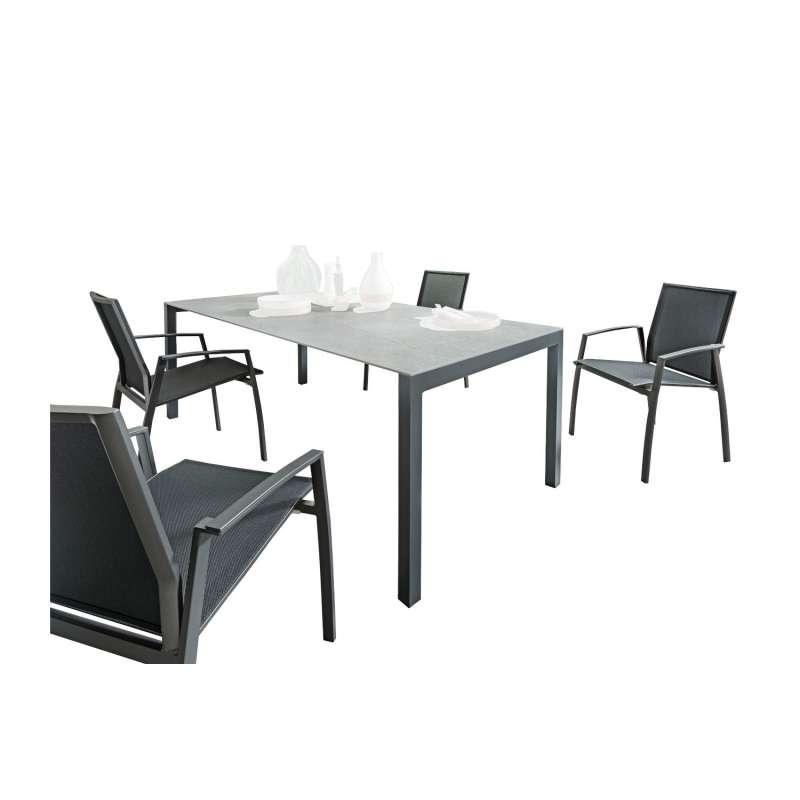 SIT Mobilia 5-teilige Sitzgruppe Etna Alpha & Argentina Aluminium eisengrau/Dekton/schwarz Tisch 210