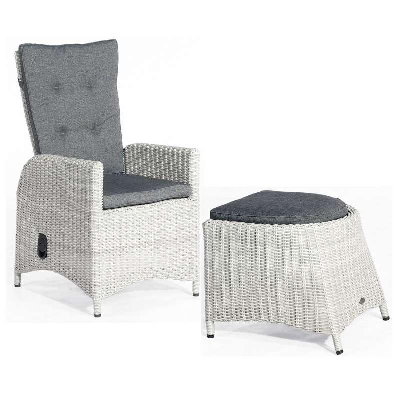 SunnySmart Dining-Sessel Para-Plus mit Fußhocker Aluminium mit Kunststoffgeflecht silber-grau Garten