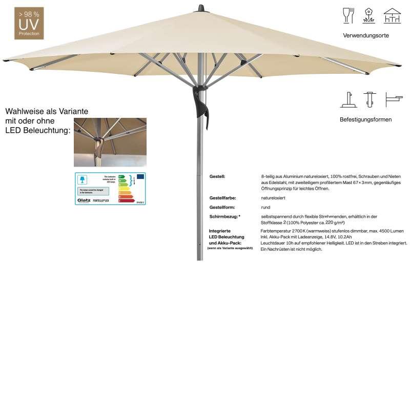 GLATZ Sonnenschirm FORTELLO® / LED easy rund ø 400 cm Stoffklasse 2 Eggshell 150 Mittelmastschirm