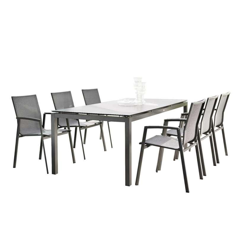 Stern 7-teilige Sitzgruppe New Top/Silverstar 2.0 Aluminium anthrazit/Zement Gartentisch 200x100 cm