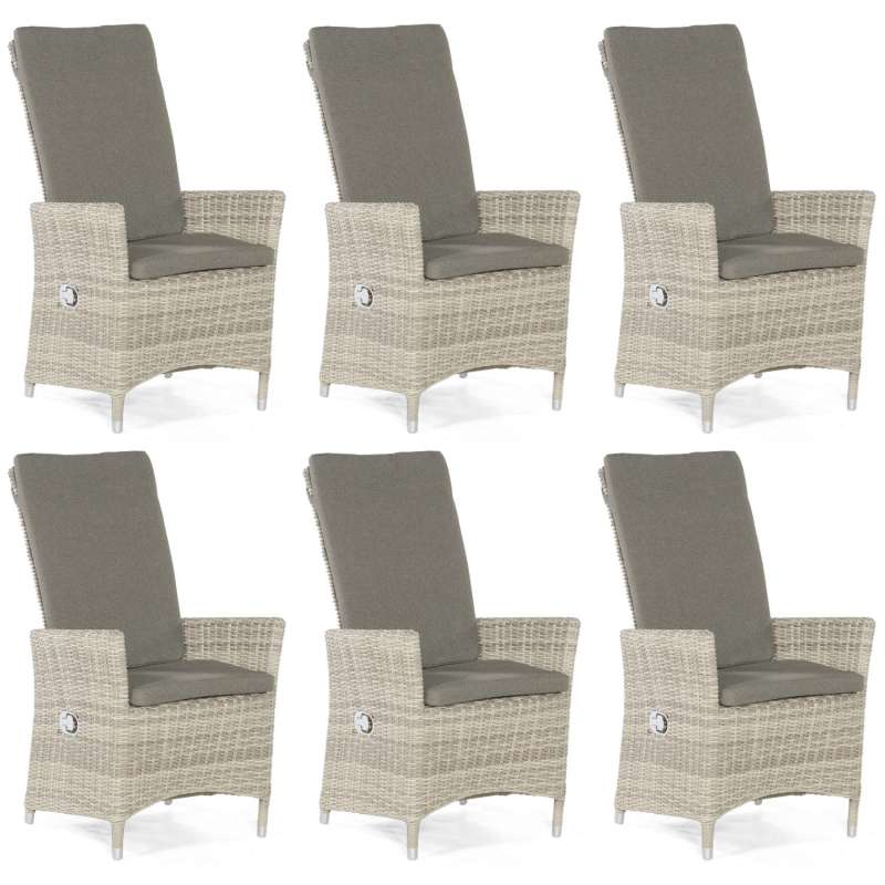 Sonnenpartner 6er-Set Garten-Sessel Solares Aluminium mit Polyrattan white-coral Gartenstuhl Hochleh