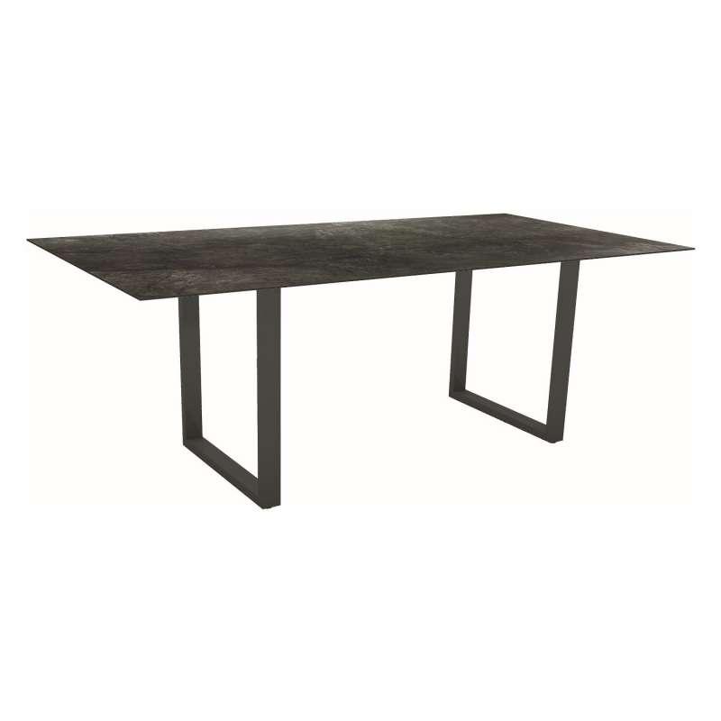 Stern Kufentisch 200x100 cm Aluminium anthrazit/Silverstar 2.0 Dark Marble Gartentisch Tisch