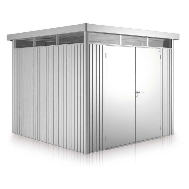 Biohort Gartenhaus Highline® mit Doppeltür silber-metallic 5 verschiedenen Größen Gerätehaus