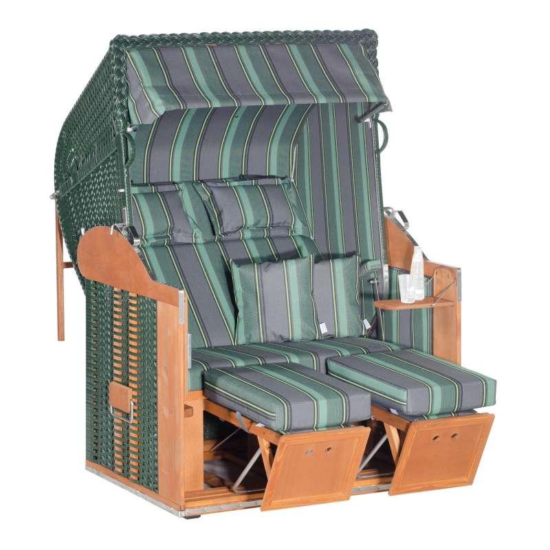 Sonnenpartner Strandkorb Classic 2-Sitzer Liegemodell grau/grün mit Kissen