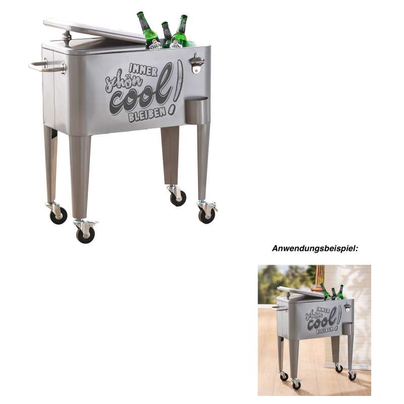 GILDE Getränkekühler Kühlbox silber ca. 35x66x78 cm 70 L Flaschenkühler Metall