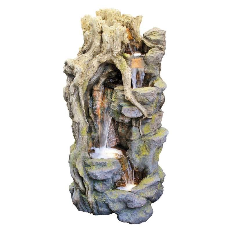 Granimex Lei-Sheng Polystone Eck-Wasserfall mit Pumpe und LED-Beleuchtung Zierbrunnen Wasserspiel 12