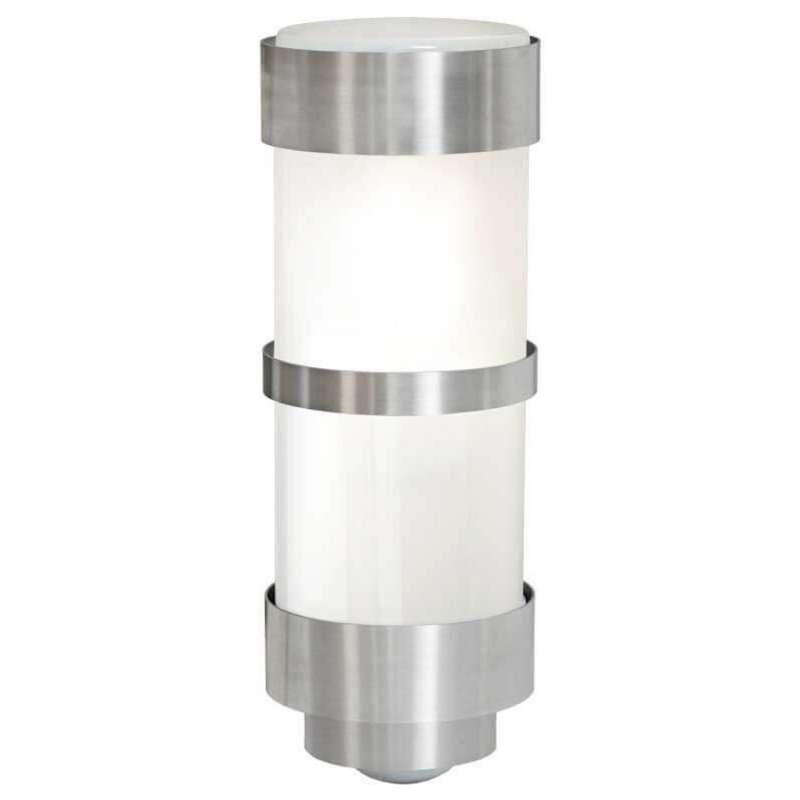 Heibi Wandleuchte mit Bewegungsmelder Zylinderform Edelstahl/Opalglas 10x12,5x28 cm Außenleuchte
