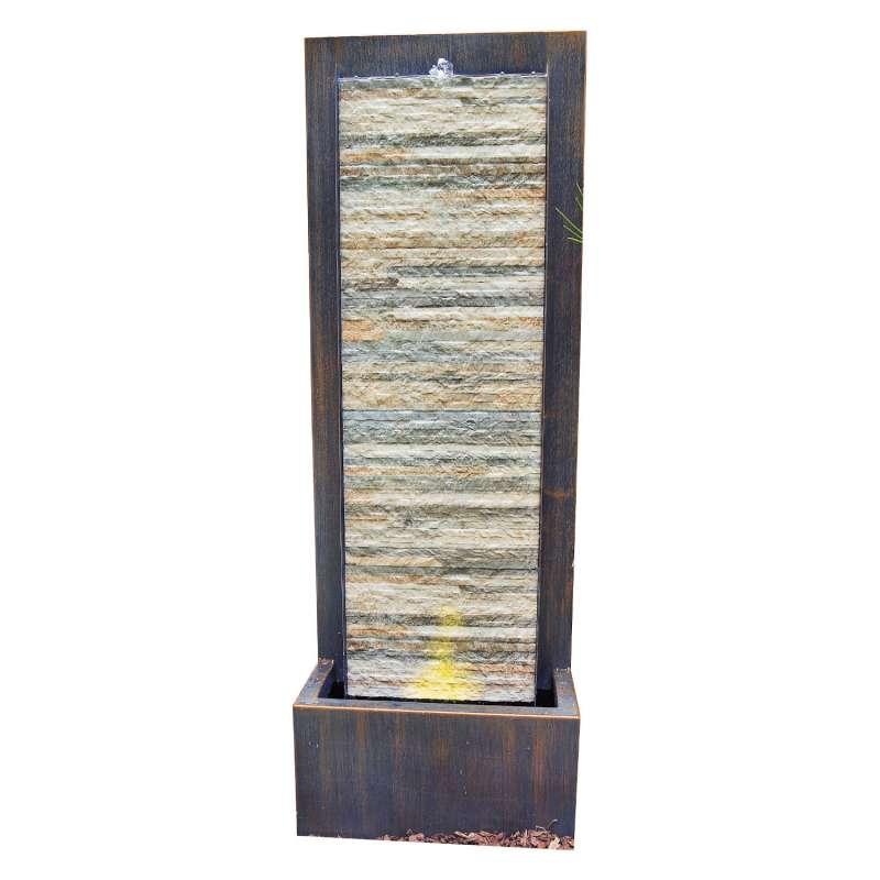 Granimex Dao Zink/Schiefer Naturstein-Wasserwand Pumpe LED-Beleuchtung Wasserspiel 105x35x20 cm