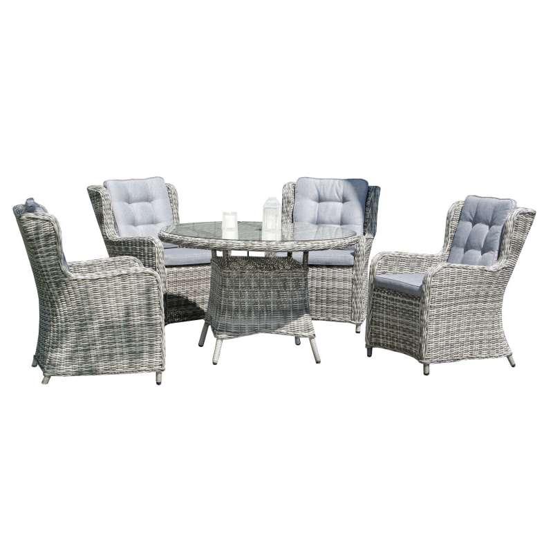 SunnySmart 5-teilige Garten-Sitzgruppe Lincoln & Midland Aluminium mit Kunststoffgeflecht vintage-ta