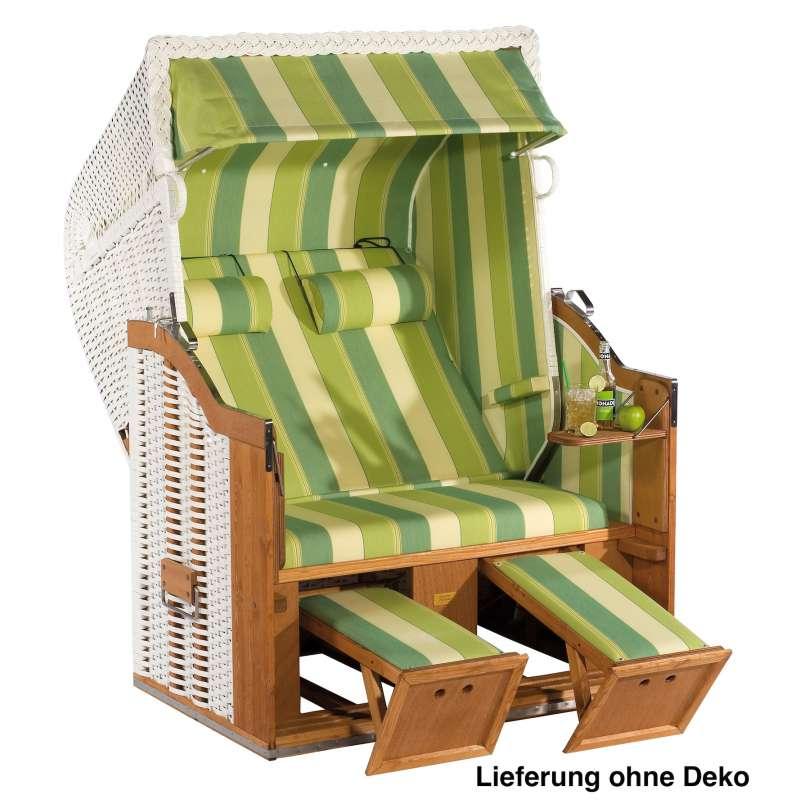Sonnenpartner Strandkorb Classic 2 Sitzer Halbliegemodell weiß grün