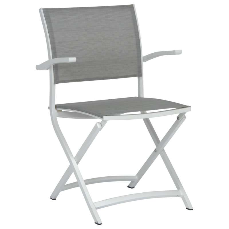 Stern Balkon-Klappsessel Camillo Aluminium weiß/Textilen silber Balkonstuhl Klappstuhl