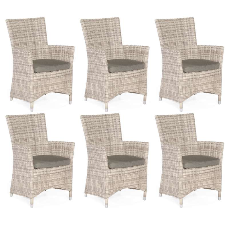 Sonnenpartner 6er-Set Garten-Sessel Ikarus Aluminium mit Polyrattan white-coral Gartenstuhl