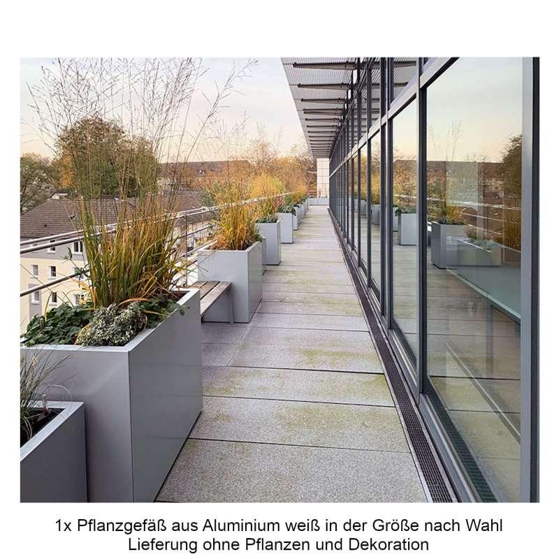 Mecondo Pflanzgefäß CONTURA Stahl verkehrsweiß glänzend RAL 9016 Blumenkübel Bewässerungssystem