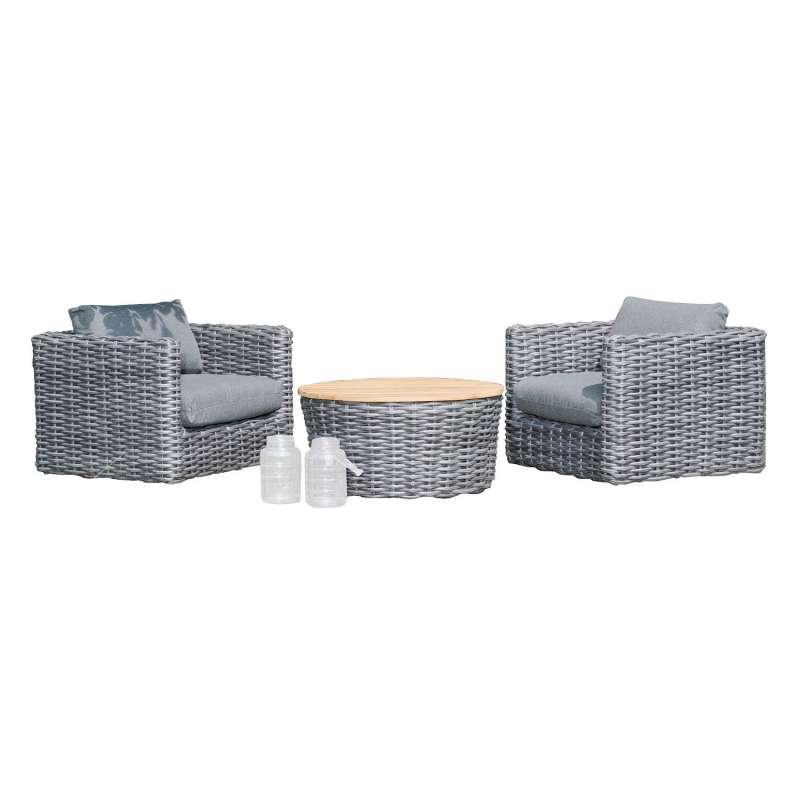 Sonnenpartner 3-teilige Lounge-Sitzgruppe Sands Aluminium mit Polyrattan charcoal Loungesitzgruppe