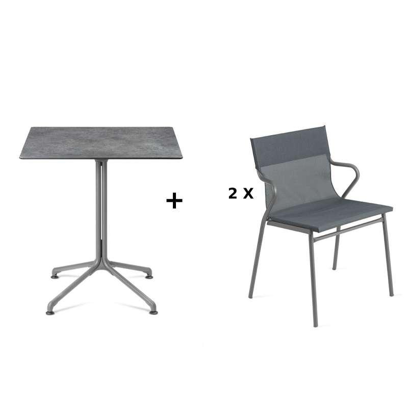 Lafuma Horizon Tisch-Set Loungetisch Mineral 70x70 cm 2 Loungestühle Storm Grey