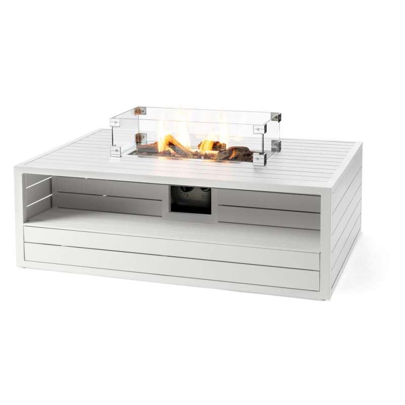 Happy Cocooning Mania Feuertisch Aluminium weiß 12 kW rechteckig 140x96x47 cm mit Glasschirm