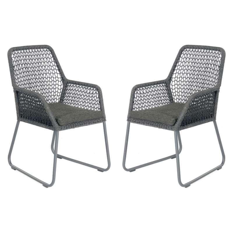 Sonnenpartner 2er-Set Gartensessel Poison Aluminium mit Polyrope dunkelgrau Gartenstuhl Sessel