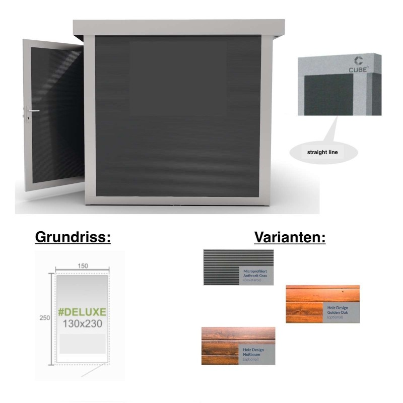 Cube FX Gartenhaus Deluxe S122 130x230x230 cm Straight Line Gerätehaus Geräteschuppen
