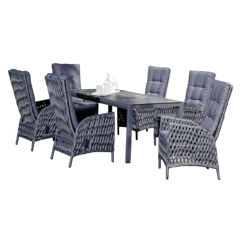 SunnySmart 7-teilige Sitzgruppe Para-Basic & Rondo Aluminium Polyrope metallic schwarz mit Tisch 180
