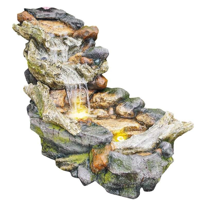 Granimex Akuna Polystone Bachlauf mit Pumpe und LED Springbrunnen Gartenbrunnen 104x50x51 cm