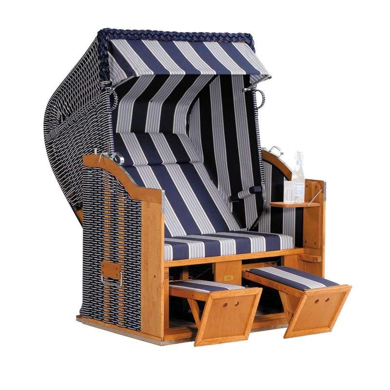Sonnenpartner Strandkorb Classic 2 Sitzer Halbliegemodell blau grau