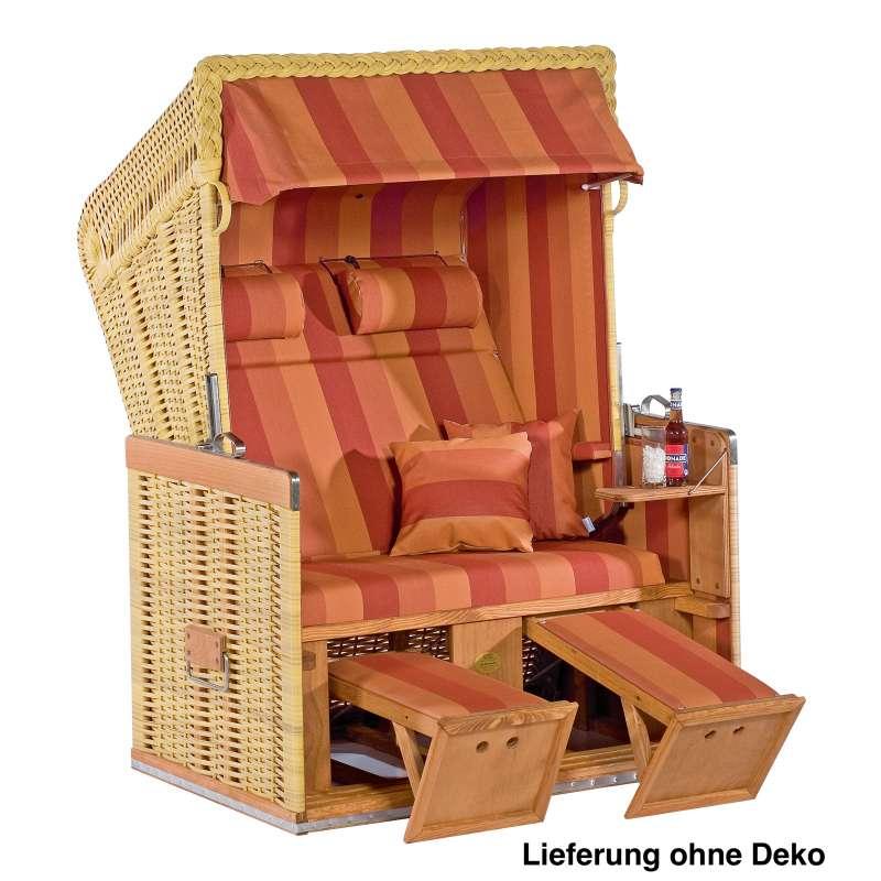 Sonnenpartner Strandkorb Konsul 2 Sitzer Halbliegemodell naturoptik terracotta