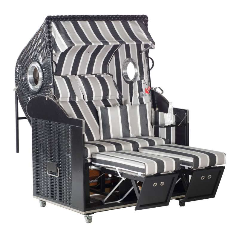 Sonnenpartner Strandkorb Classic 2-Sitzer Liegemodell schwarz/grau mit Bullaugen