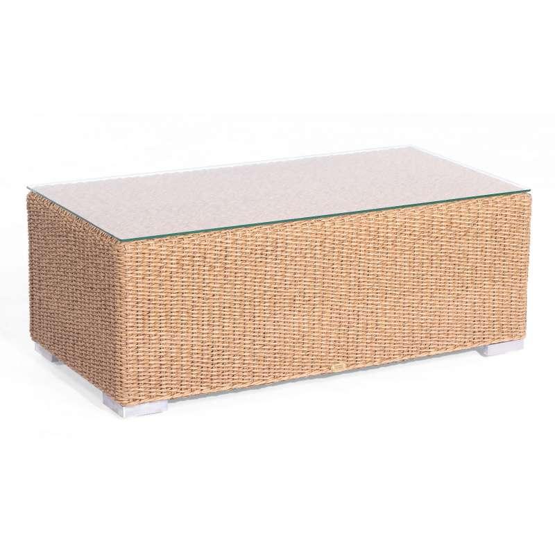 Sonnenpartner Lounge-Tisch Residence 120x60 cm Aluminium mit Polyrattan Hyazinthoptik mit Glas Loung