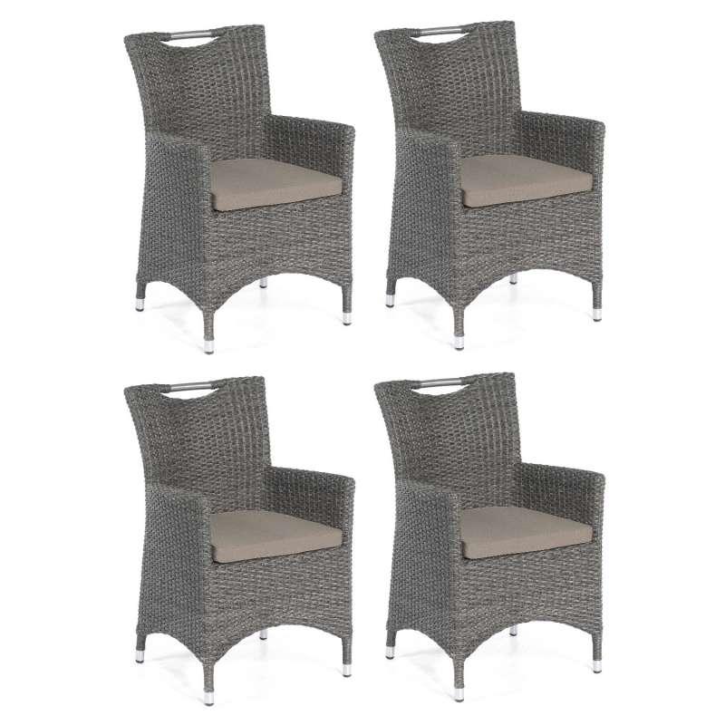 SunnySmart 4er Set Garten-Sessel Cardinal Aluminium mit Kunststoffgeflecht vintage-grau Gartenstuhl